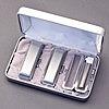 印鑑セット/3本セット/プラチナケース+セットケース付/M/シルバーチタン/15mm13.5mm10.5mm/熟練職人の作成印影
